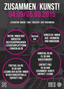 Flyer Vorderseite ZusammenKunstt 2015 Rheinberg ZUFF KeinVerlag
