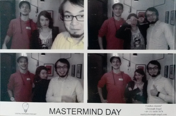 Auf der Aftershowparty. V.l.n.r.: Renan (das bin ich), Scarlett (Text & Konzept), Leo (Blogger, Programmierer)